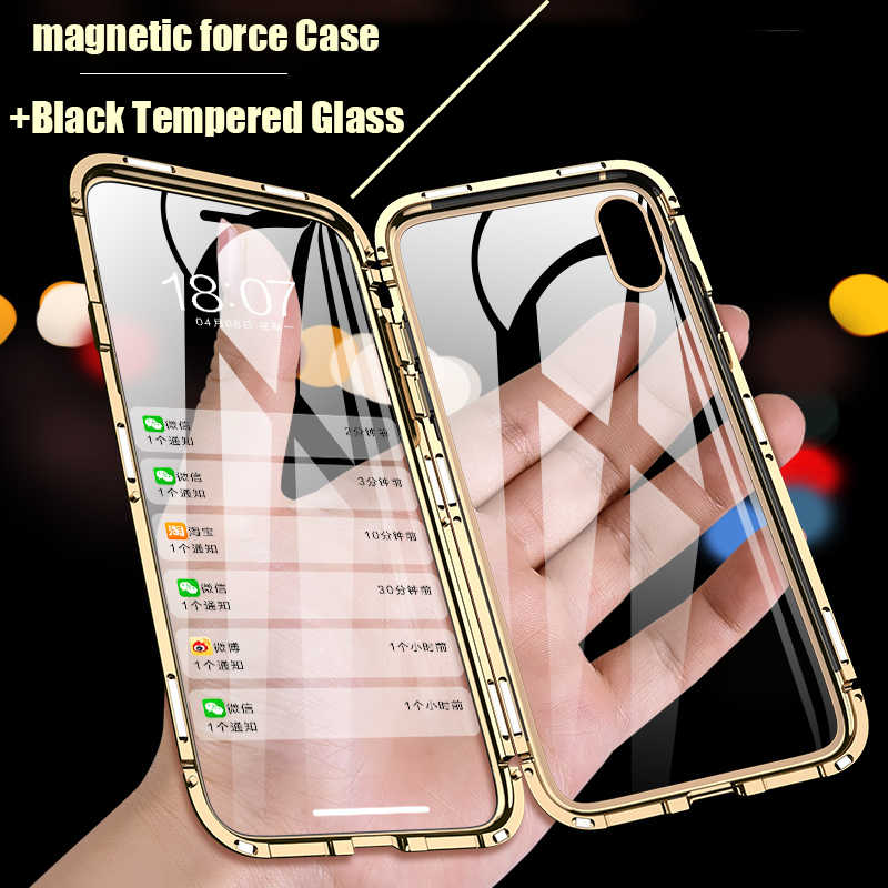 360 Magnetic Force For iPhone 7 6s Plus Case Tempered Glass For iPhone 7 8 Plus X Case For iPhone XS MAX XR Case