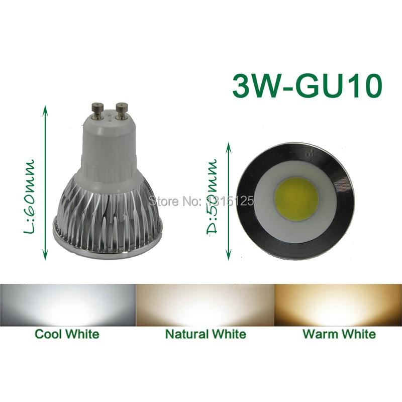 4 stks / partij high power led spot COB, 3 W LED COB GU10 Licht, 3200 - LED-Verlichting