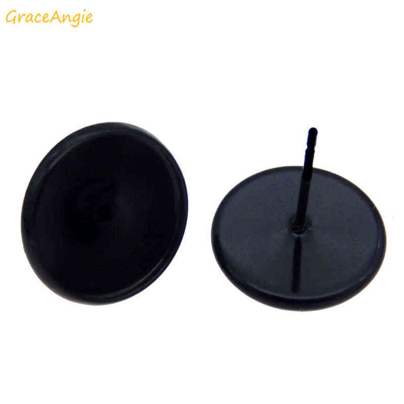 GraceAngie 10-20pcs עגול ריק עגיל הודעה כוס לוח שחור בסיס Fit 12mm קרושון קמיע עגיל מגש הגדרות DIY אבזר