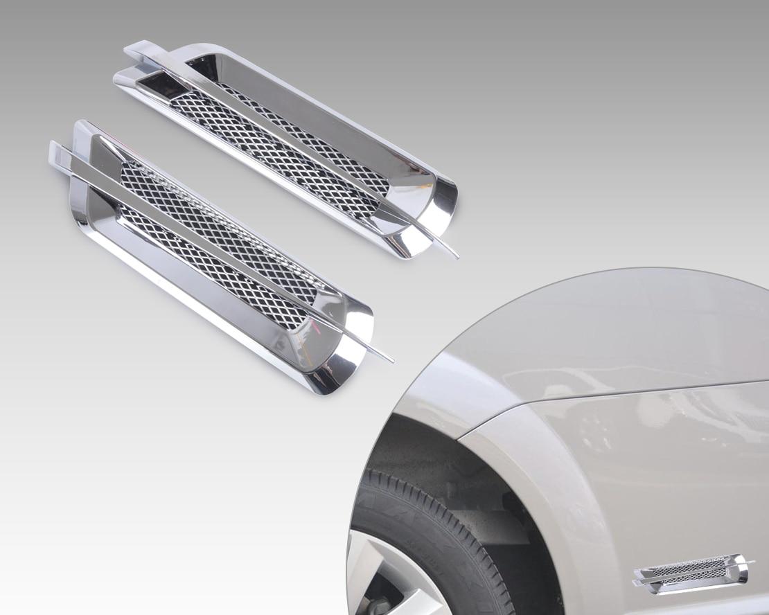Dwcx Universal Chrome Car Side Air Vent Fender Cover Hole Intake Duct Flow Grille Decoration