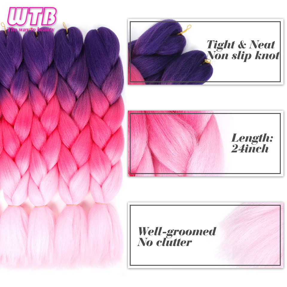 WTB волосы 100 г/упак. 24 дюйма длинные Джамбо синтетические плетеные волосы розовый синий фиолетовый Омбре африканские крючком косы для наращивания волос