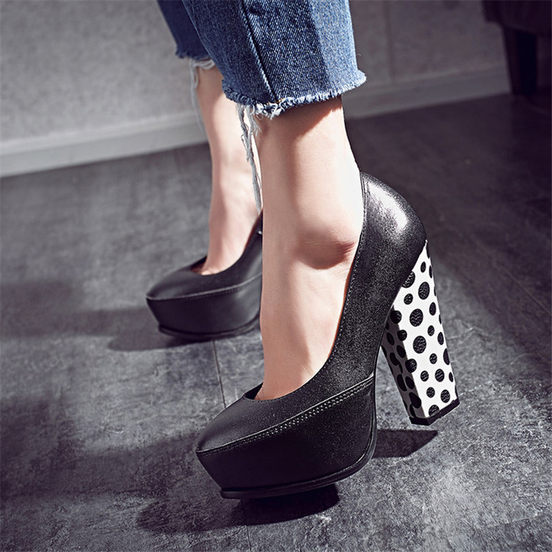 2017 Genuine Leather Platform Women Pumps Slip On Square High Quality Shoes Woman Summer Autumn Dess Party Pumps Plus Size 34-43 nayiduyun women genuine leather wedge high heel pumps platform creepers round toe slip on casual shoes boots wedge sneakers