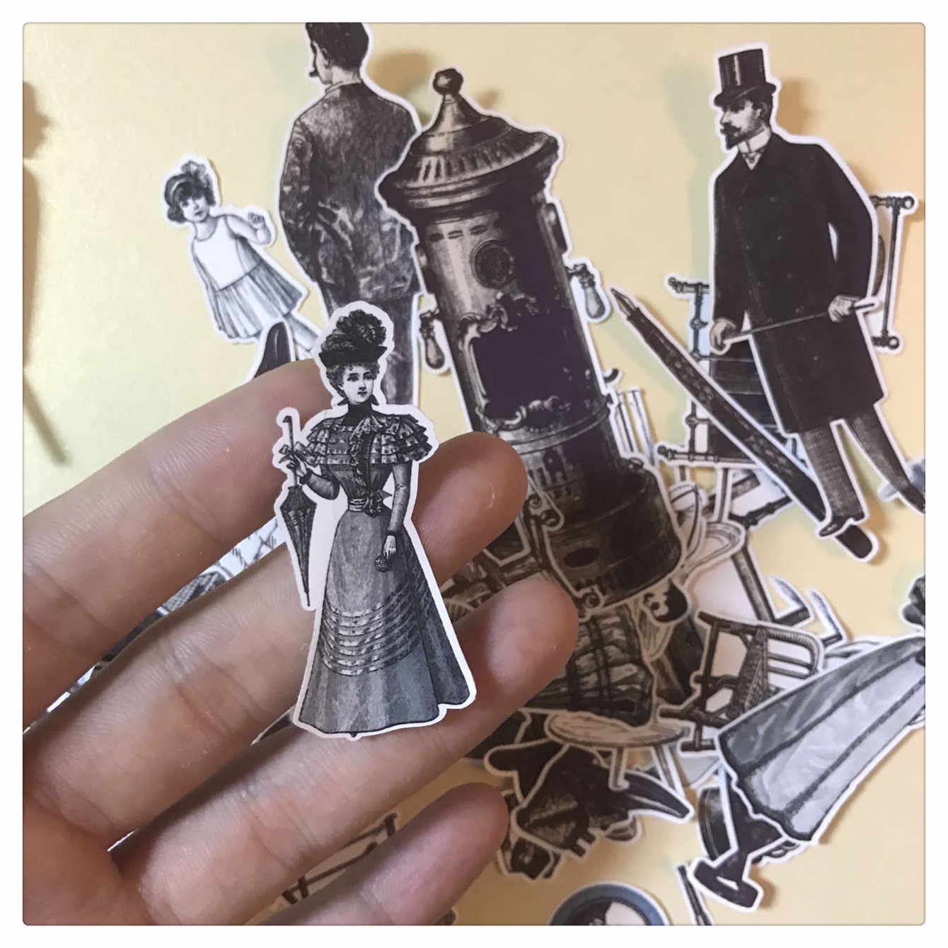 50pcs Retro furniture character decoration stationery sticker diy diary scrapbooking label sticker stationery