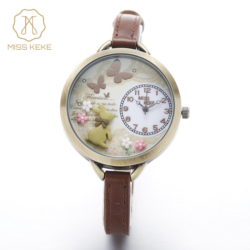 montre enfant 2018 Frøken Keke 3d Mini World Clay Cute Kids Kvinder Armbåndsure Ladies Fashion Alice Forest Armbåndsure 882