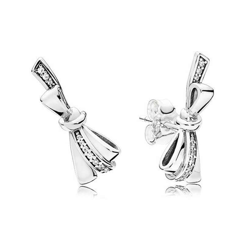 4a589d4ad Boosbiy New Design Bowknot Stud Earrings for Women Silver Color Pandora  Earrings Jewelry Fashion Nice Boucle