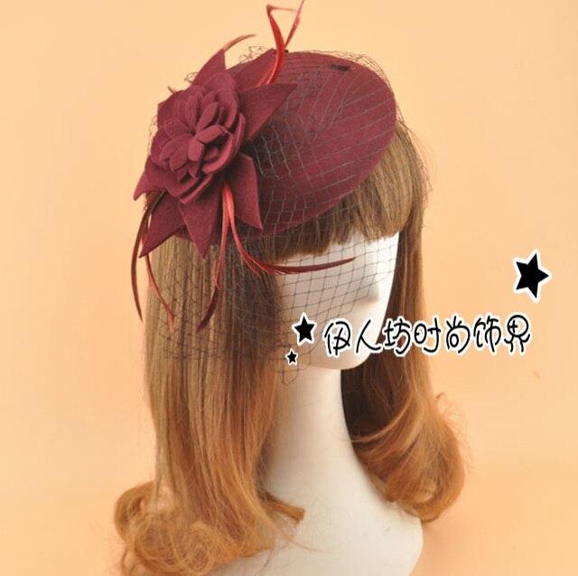 Vintage Elegant Wedding Hats Women Hat with Veils Boina Feminina Wholesale Ladies Hair Accessories Party Hair Decoration