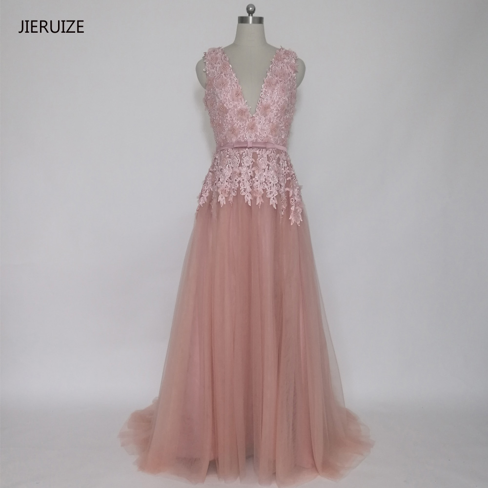 JIERUIZE Dusty Pink Vintage Lace Appliques Long Evening Dresses Pärlor Backless Prom Dress Aftonklänningar Vestido de Festa