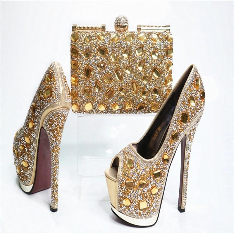 G30 Gold High Class African Wedding High Heels With Bag