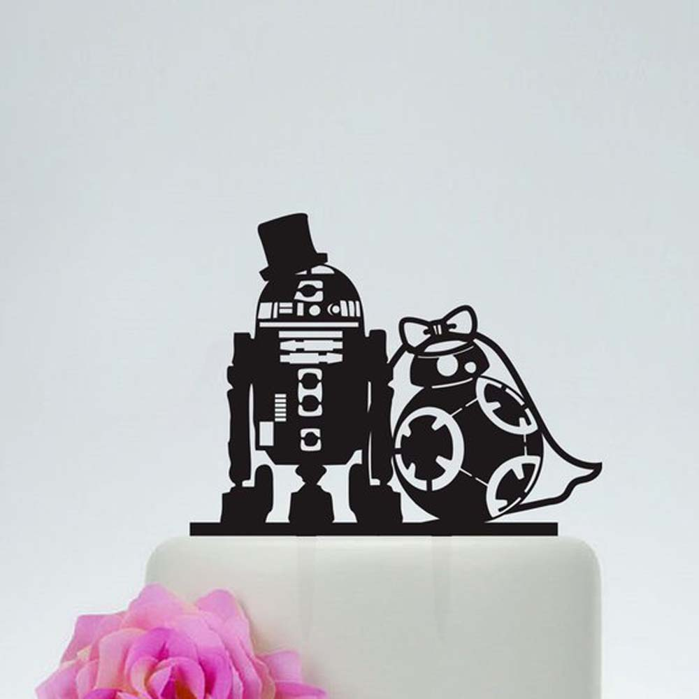 Wedding Star Wars Cake Topper,R2D2 & Bb8 cake topper, Acrylic Custom Love Cake Topper,Star Wars Silhouette with Bride & groomWedding Star Wars Cake Topper,R2D2 & Bb8 cake topper, Acrylic Custom Love Cake Topper,Star Wars Silhouette with Bride & groom