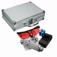 450nm Blauw Licht Laser Pointer Pen Power Beam 5 Hoofd Met 4x16340 Met Lader Met Bril Draagbare Doos US Plug Lader Set