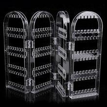 Multifuncional Plegable de Plástico transparente Caja de Almacenamiento En Rack Porta Aretes Soporte de Exhibición Pantalla Joyas