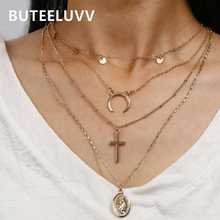 BUTEELUVV Bohemian Multi Layered Chain Necklace for Women Elegant Gold Color Cross Moon Saint Pendant Necklace Fashion Jewelry fashion cross pendant multi layered decussate body chain for women