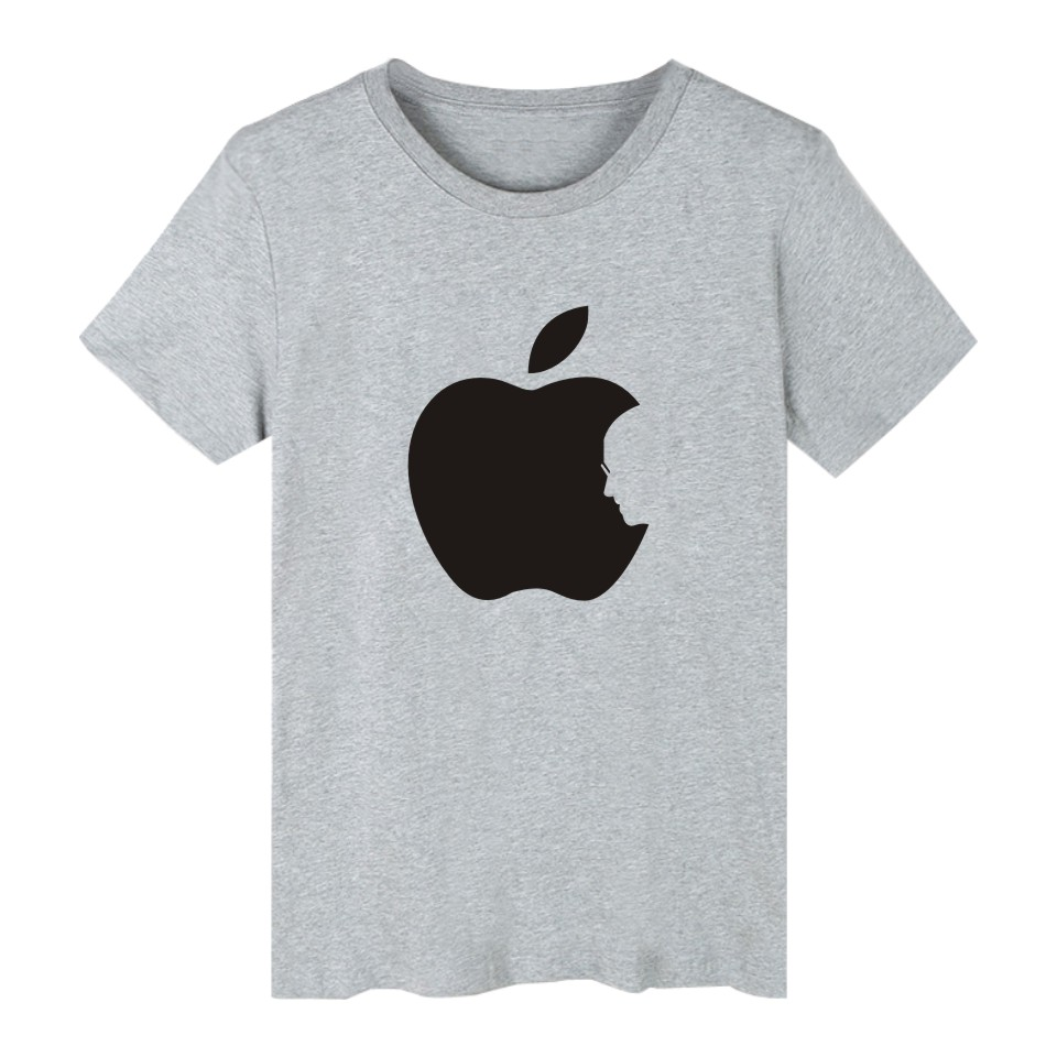 Hot Sale Apple Steve Jobs 4-color Cotton TShirt Plus Size Short Sleeve T Shirts in Fashion Biting Apple Funny T-shirt XXS 4XL 2
