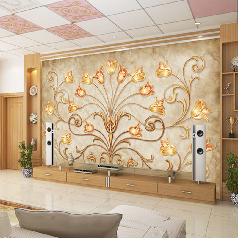 Custom Wall Mural European Style 3D Golden Flowers mural TV Background Wall Painting Living Room Sofa Wallpaper Wall Covering book knowledge power channel creative 3d large mural wallpaper 3d bedroom living room tv backdrop painting wallpaper