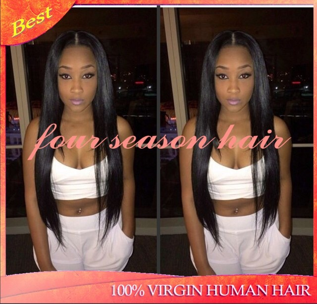 Long Black Silky Straight Hair Wigs For Women U Part Wig On Middle Glueless