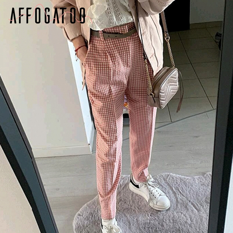 Affogatoo Elegant casual Plaid pink   pants   women Summer vintage work   pants     capris   female Straight office ladies   pants   trousers
