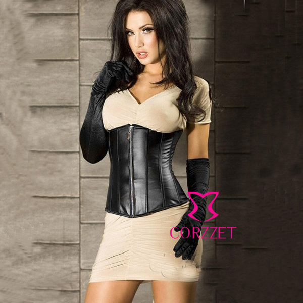 Zipper Front Lace Up Boned Black Leather Corpete Corselet Underbust   Corset     Bustier   Latex Cincher Waist Slimmer Shapers For Women