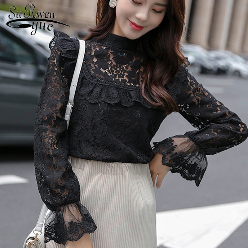 Las Larga 45 Top Blusas Nueva Temprano Otoño Estilo De 2019 Manga Blusa Slim Corte Moda 1409 Camisa Trabajo Negro Mujer Mujeres Usar blanco Coreano 77rZO