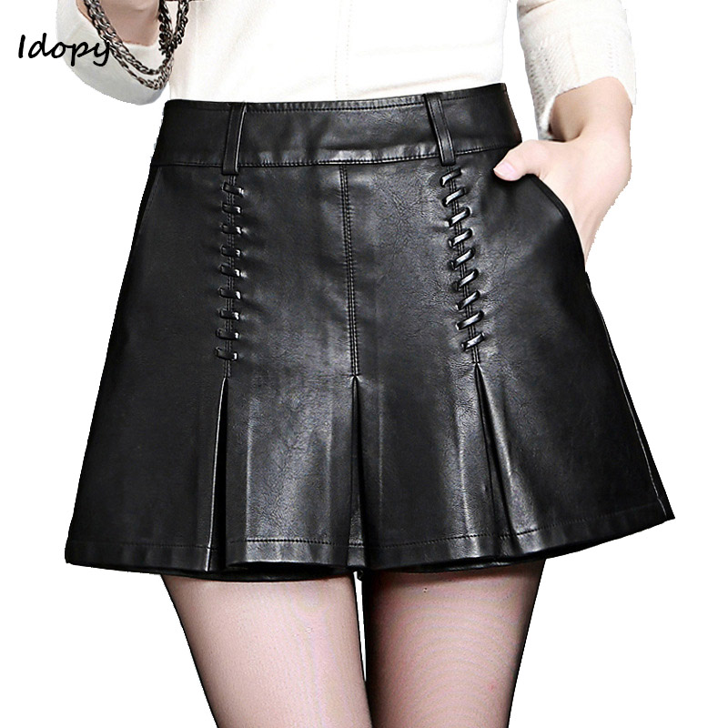 Idopy Women`s PU Shorts Cute Basic Autumn and Winter High Waisted Flare Black Fashion Faux Leather Short Pants For Female