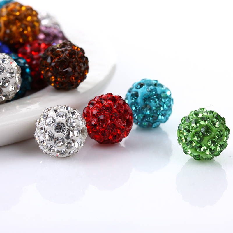 Able 10mm Polymer Clay Mixed Color Rhinestone Beads Disco Crystal Ball Beads 100pcs/lot Jewelry & Accessories