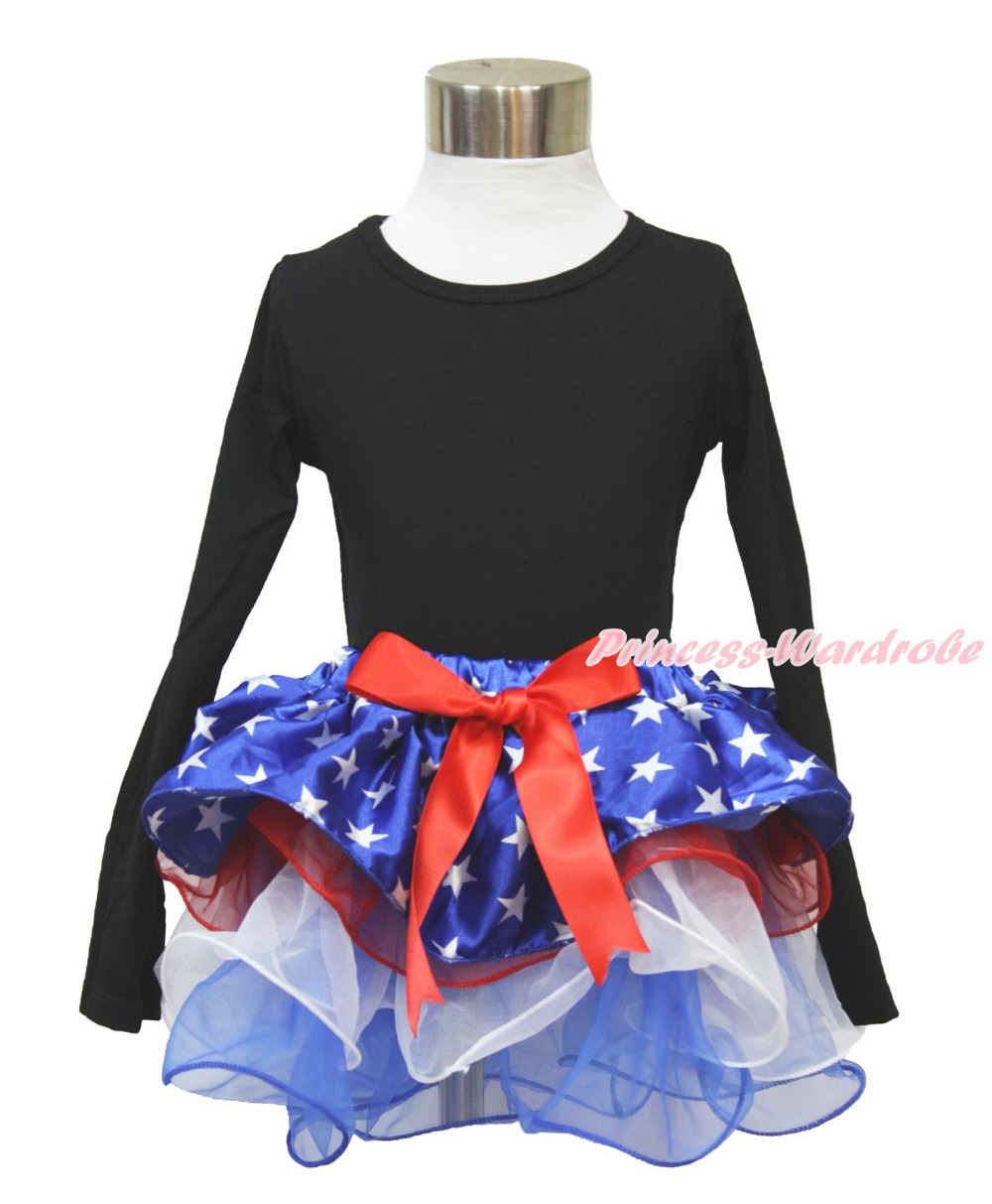 4th July Plain Black Long Sleeves Pettitop Patriotic Star Red White Petal Pettiskirt NB-8Year MAMH226 pumpkin print white pettitop coral petal skirt nb 8year baby girl mamh241