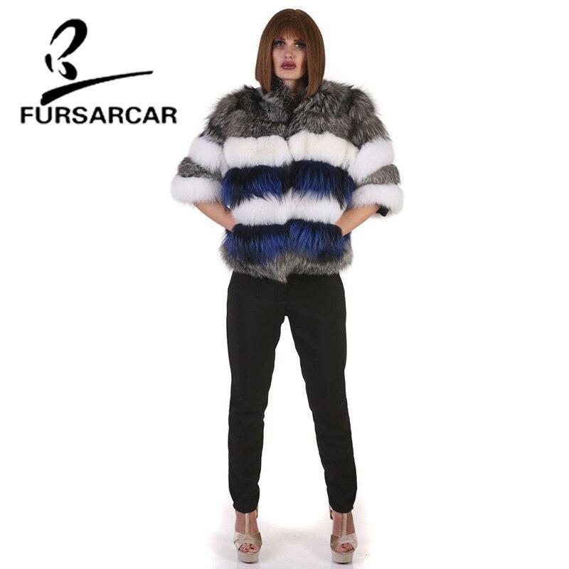 Fourrure Renard Veste Fox Avec Chaud Col De Réel Court Manteau Blanc Silver Stand Femmes Naturel Fursarcar Hiver Style XtwCqOxA