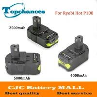 High Quality 18V 2500 4000mAh 5000mAh Li Ion For Ryobi Hot P108 RB18L40 Rechargeable Battery Pack