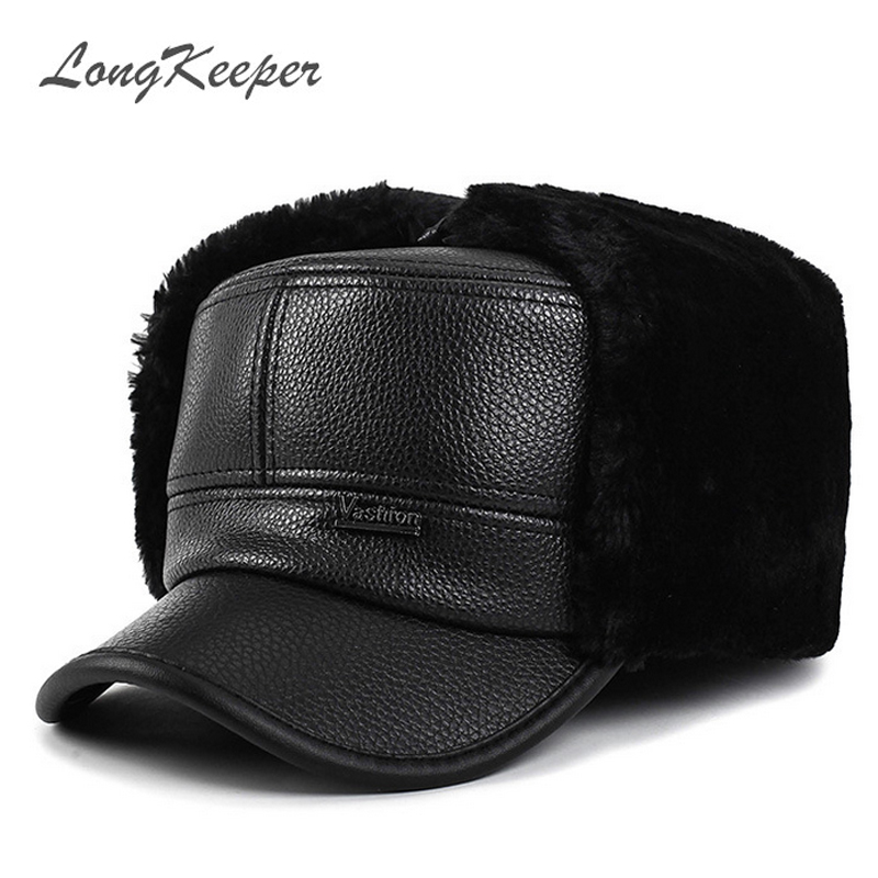 4acd093774f LongKeeper 2017 Men Baseball Caps Winter Warm Leather Hats Man Artificial  Wool Snapback Cap OT15-in Baseball Caps from Apparel Accessories on  Aliexpress.com ...