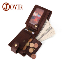 JOYIR Genuine Crazy Horse Leather Men Rfid Wallet Credit Cards Holder Purse Vintage Short Cowhide Man Coin Pocket