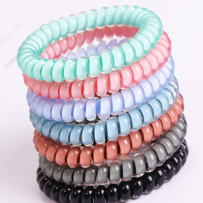 New Fashion Simple Rubber Bands Cute Telephone Line Elastic Hair Bands Girls Hair Ropes Candy Colors Hair Accessories For Women 10pcs lot high quality telephone line headband gum elastic hair bands candy color rubber band for women girls hair accessories
