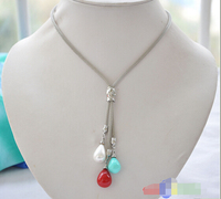 FREE SHIPPING>>>@@ 13mm multicolour drip south sea shell pearl Stainless steel mesh necklace^^^@^Noble style Natural Fi