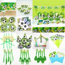 Soccer Party Supplies Football Disposable Tableware Favors Baby Shower Green Kids Birthday Decoration Set