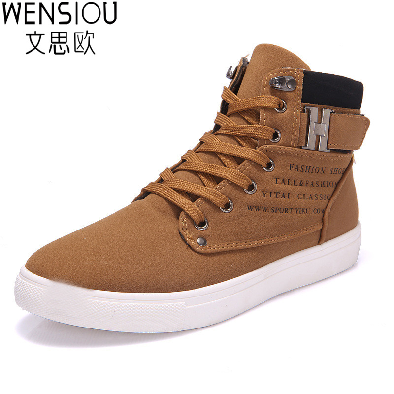 New 2016 men shoes winter high top lace up Male casual ankle autumn flock men shoes British style casual shoes Footwear ET09 2016 new autumn winter man casual shoes sport male leisure chaussure laced up basket shoes for adults black