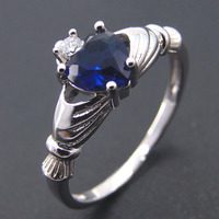 Wedding Ring 100 925 Sterling Silver Rings For Women Jewelry Blue Sapphire CZ Mother Ring Party