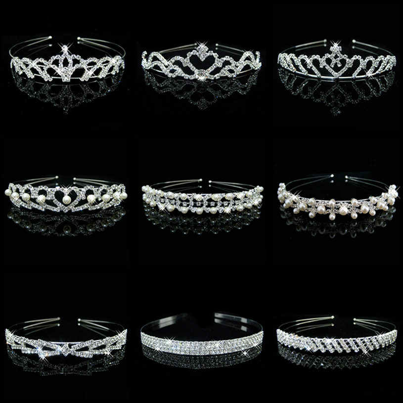 Wholesale Bridal Wedding Pearl Rhinestone Crown Heart Crown Pageant Silver Plated Women Children Tiaras Headband Accessories