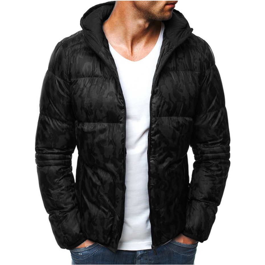 ZOGAA Winter Men Warm   Parkas   Coats Cotton Thick Printed Hooded Jackets   Parkas   Male Zipper Padded Slim Fit Outerwear Coats 2019
