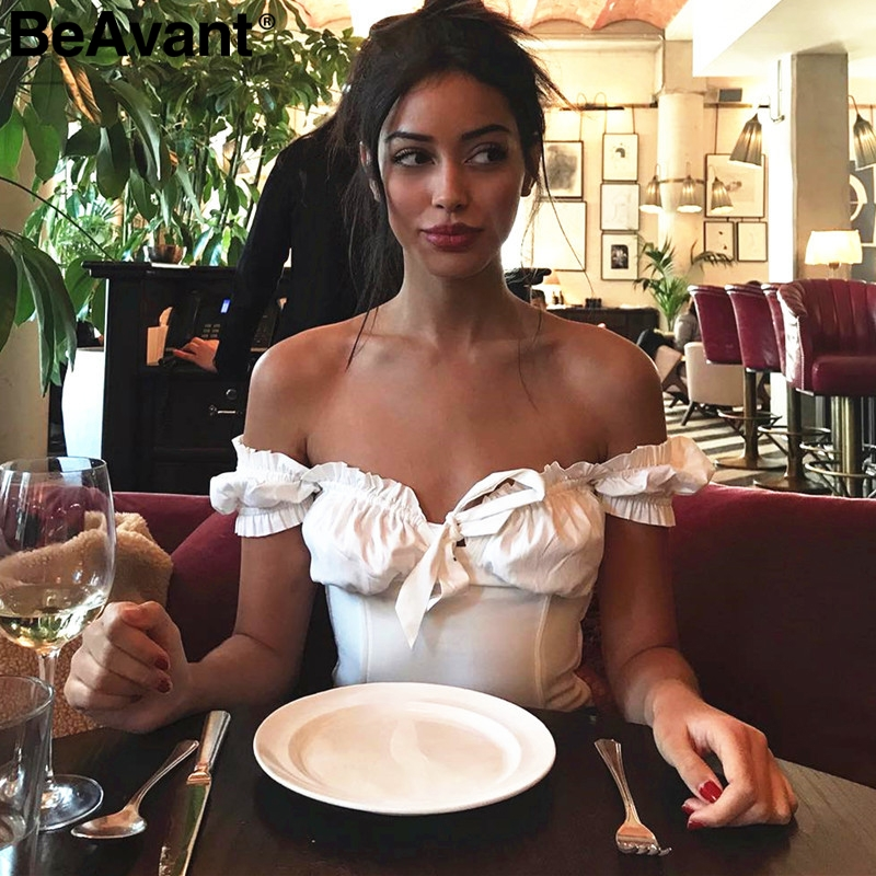 Be Avant 2018 Sexy Slim Pink Bustier Bralette Tops Women Off Shoulder White Crop Tops Tees Sweet Ruffle Summer Tank Tops Camisole by Simplee