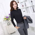 Novelty Black Uniform Styles Female Pantsuits Tops And Pants Office Ladies Work Wear Suits With Blouses Trousers Clothing Sets