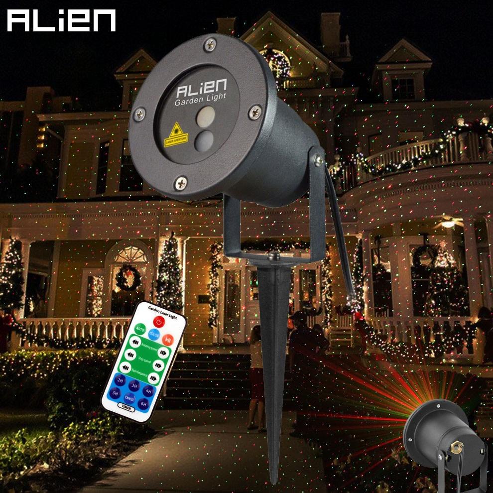 ALIEN Remote Motion Christmas Laser Projector Star Dots Laser Light Shower Static Moving Waterproof Garden Xmas