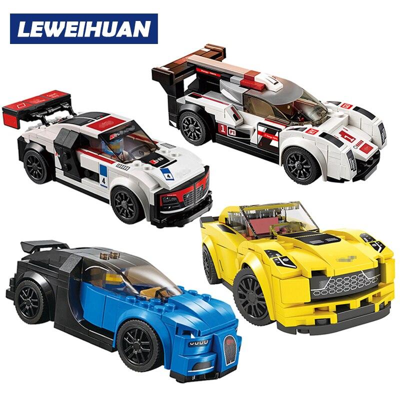 Technique Ville Super Coureurs Série lepinedp Vitesse Champions compatible Legoed voiture Blocs Racing Bâtiment modèles enfants Enfants jouets