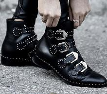 Buckles Design Women Genuine Leather Ankle Boots Rivets Flat Short Booties Mujer Motorcycle Martin Boots Women Flats