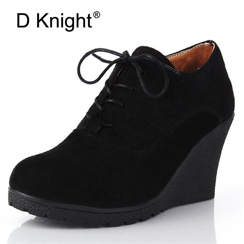 Women Sexy Ankle Boots 2017 New Spring Autumn Pumps Shoes Suede Wedge High Heels Boot Platform Casual Shoes Woman Black Blue