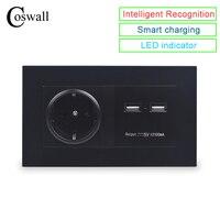 COSWALL שחור קיר שקע 16A האיחוד האירופי תקן שקע חשמל עם USB הכפול חכם מטען נמל עבור נייד 5V 2100mA פלט מחשב לוח