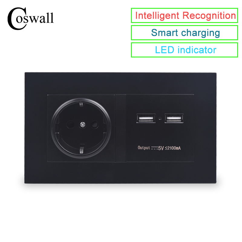 COSWALL Black Wall Socket 16A EU Standard Power Outlet With Dual USB Smart Charger Port For Mobile 5V 2100mA Output PC Panel