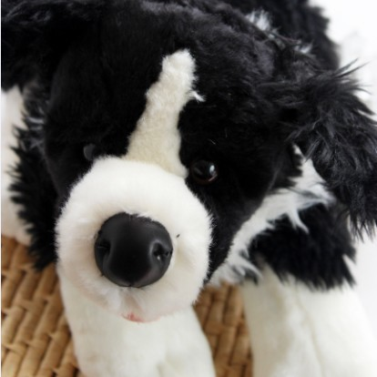 Build A Bear Black And White Long Haired Dog Plush Toy Doll