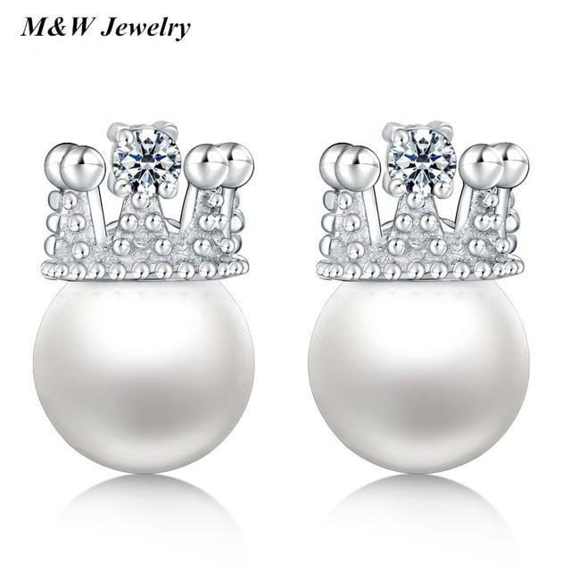 M W Fashion Women 925 Sterling Silver Earrings Vintage Pearl Stud 1pair Lot Las