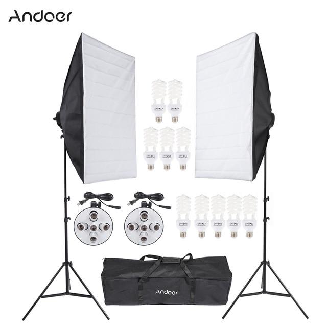Andoer Photo Video Equipment Photography Studio Product Light Lighting Tent Kit With Softbox Socket 45w