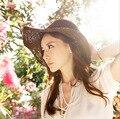 Grande mulheres de abas largas chapéu de Crochê Primavera e No verão chapéu de palha praia chapéu de sol