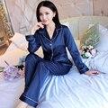 Mujeres Elegantes Satén De Seda Pijama de Manga Larga Pijama Conjunto con cuello en v Pijama Femme Solf Noche Ropa de Dormir Moda Para El Hogar ropa