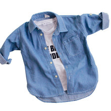2016 New Fashion Baby Shirts Children Denim Shirts Girl Casual Top blouse denim soft solid color all-match turn-down collar